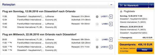 Lufthansa Düsseldorf Orlando