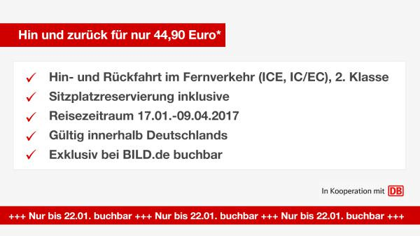 bild bahn ticket hin und r ckfahrt durch deutschland f r 44 90 euro. Black Bedroom Furniture Sets. Home Design Ideas