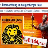 Musical-Deals: z.B. König der Löwen-Ticket inkl. 4* Steigenberger-Hotel ab 144 Euro pro Person