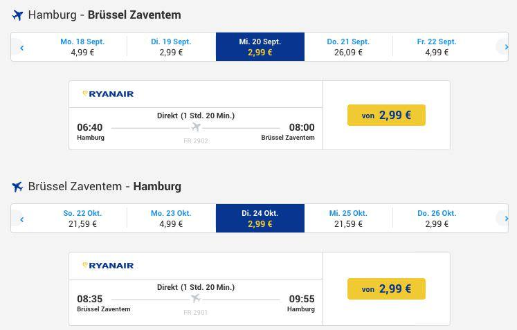 Ryanair Hamburg Brüssel Ab 299 Euro Pro Weg