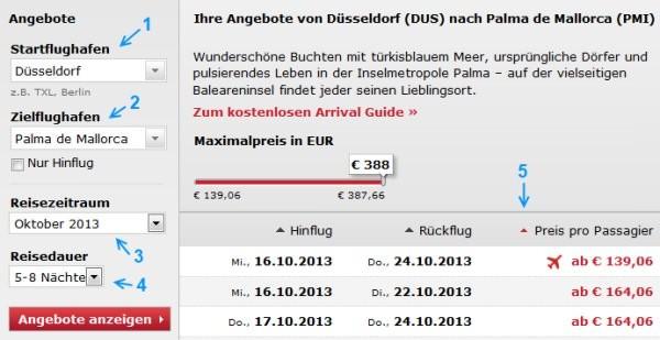 Air Berlin Angebotssuche
