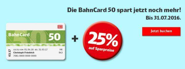 BahnCard 50 Sparpreis